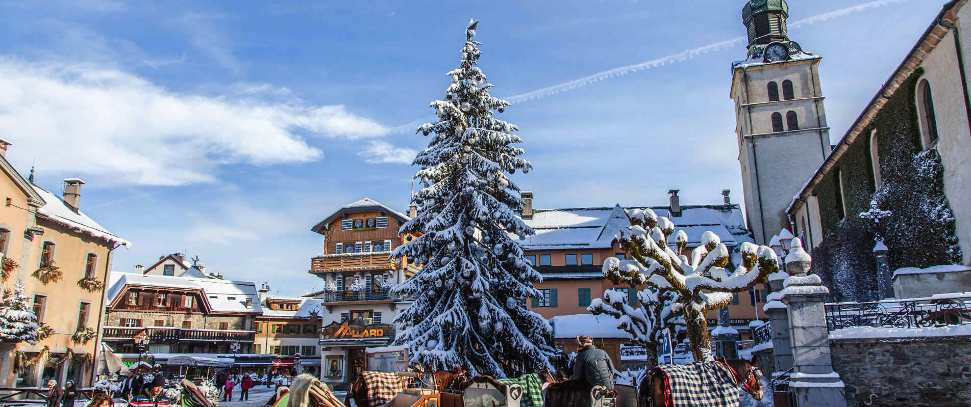 Megeve Town and Horses